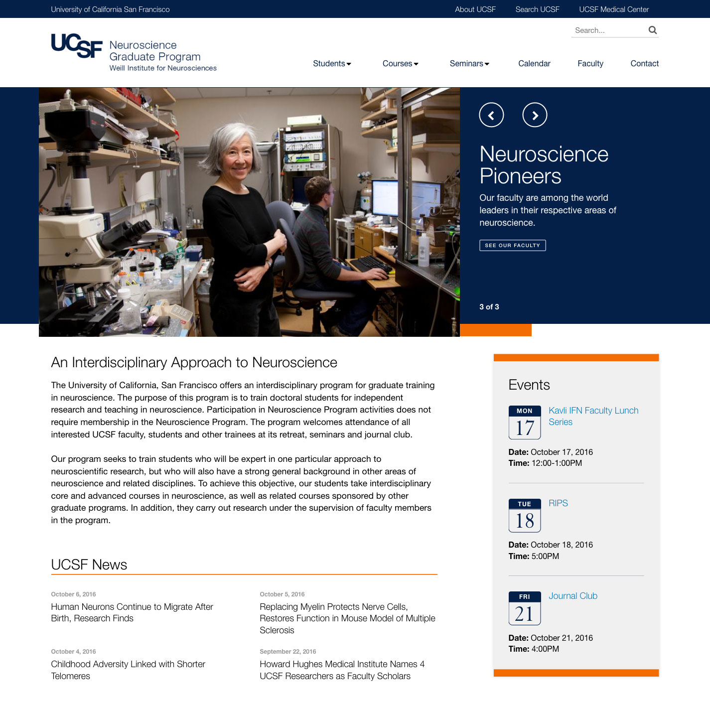 screenshot of neurograd.ucsf.edu homepage