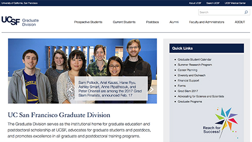 Example of a Starter Kit 2 website with top navigation in UCSF navy blue text against white background